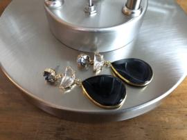 oorbellen lang goud met swarovski streepagaat kristal