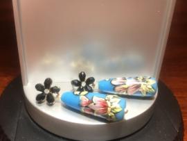 oorbellen lang bloem zwart druppel blauw