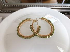 creolen goud met groen kristal
