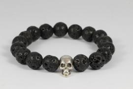 armband heren met lava zwart en zilver schedeltje
