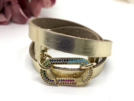 armband leer goud met zirkonia slot