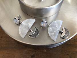 oorbellen lang wit parelmoer opaal swarovski