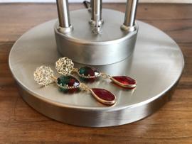 oorbellen XL goud facet glassteen rood en groen