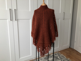Dames poncho roestbruin