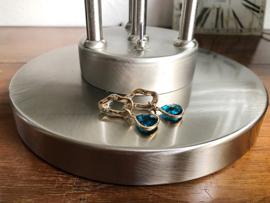 oorbellen goud met blauw facet glas
