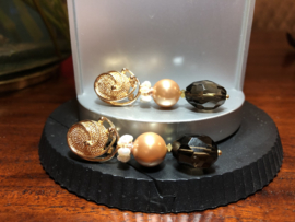 oorbellen lang goud shellparel zalm en rookkwarts