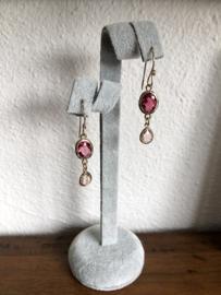 oorbellen lang met 14 krt goldfill en facet druppels roze