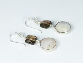 oorbellen lang zilver met rookkwarts en jade