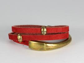 armband suède warm rood met antiek goud armbandslot