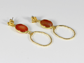 oorbellen XL goud carneeol