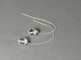 oorbellen zilver kettinkje met berkristal