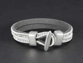 armband dubbel suède grijs met kristallen in zilver