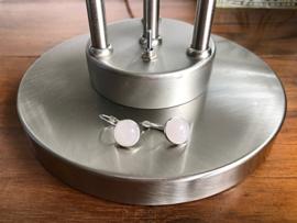 oorbellen zilver klapcreolen met rozenkwarts