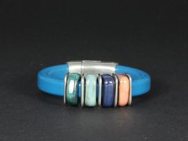armband blauw leer met keramiek