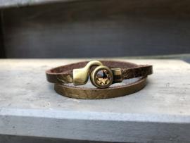 armband leer goud met swarovski