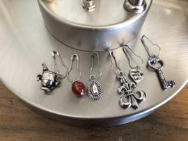 Steekmarkeerders zilver met agaat - schorpioen