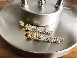 oorbellen lang goud met kristalletjes