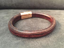 heren armband bruin met roségoud magneetslot