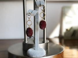 oorbellen XL oorstekers goud druzy's
