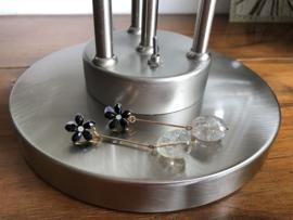 oorbellen XL met bloemblaadjes zwart facet en citrienkwarts