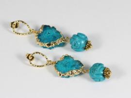 oorbellen XL goud turquoise