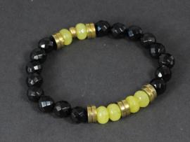 armband elastisch met onyx hematiet en jade