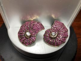 oorbellen oorstekers nautilus roze rijnsteentjes