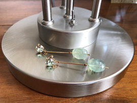 oorbellen XL goud met prehniet en swarovski