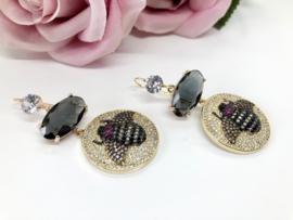 oorbellen met kristallen en zirkonia Bij