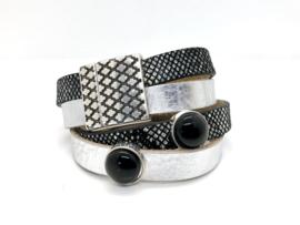 armband dubbel leer zilver en slangenleer en onyx