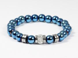 Armband blauw hematiet elastisch