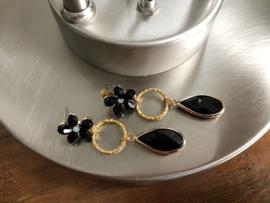 oorbellen goud zwart facet kristal