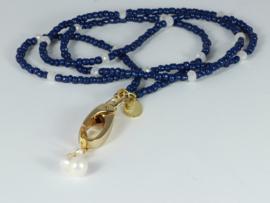 collier lang met kristallen en parel en verwisselbare hanger