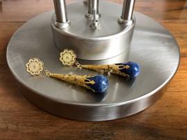 oorbellen XL verguld met lapis lazuli