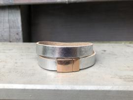 armband leer zilver met rosé  goud magneetslot