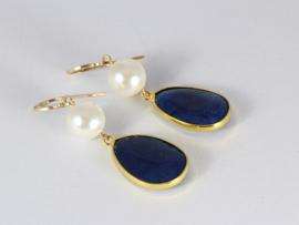oorbellen lang goud met parel en donkerblauwe jade