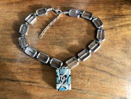 collier helder glas met zilver rand en hanger