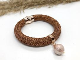 armband copper metalic koord en shell parel