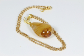 collier goud met limoniet kwarts hanger
