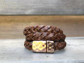armband met gevlochten bruin leer