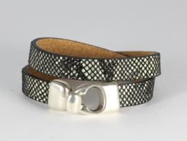 armband dubbel DQ leer met slangenprint zwart wit