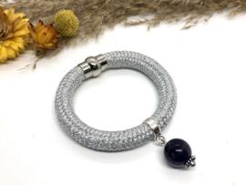armband koord zilver metalic met amethist