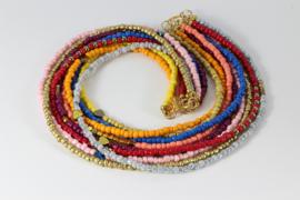 collier veel kleuren met glas en hematiet goud