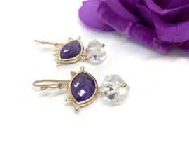 oorbellen goldfill amethist herkimer diamant