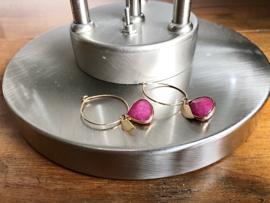 oorbellen goud creolen met jade