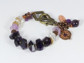 armband met amethist en bergkristal