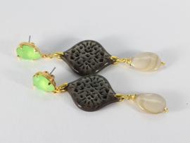 oorbellen XL met swarovski groen en parelmoer