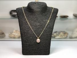 collier met ab kristal en rozenkwarts