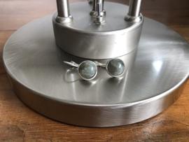 oorbellen zilver met klapcreolen en agaat grijs/groen