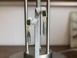 oorbellen oorstekers goud met hydroquartz pegels groen
